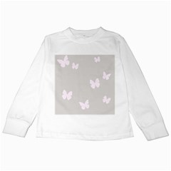 Butterfly Silhouette Organic Prints Linen Metallic Synthetic Wall Pink Kids Long Sleeve T Shirts by Mariart
