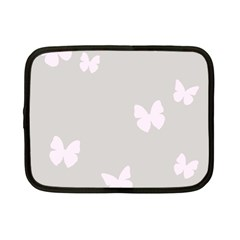 Butterfly Silhouette Organic Prints Linen Metallic Synthetic Wall Pink Netbook Case (small)  by Mariart