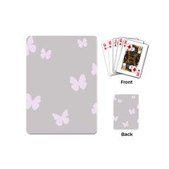 Butterfly Silhouette Organic Prints Linen Metallic Synthetic Wall Pink Playing Cards (mini)  by Mariart
