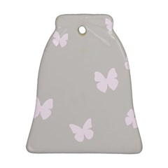 Butterfly Silhouette Organic Prints Linen Metallic Synthetic Wall Pink Bell Ornament (two Sides) by Mariart