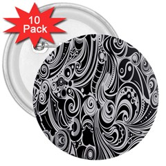 Black White Shape 3  Buttons (10 Pack)  by Mariart