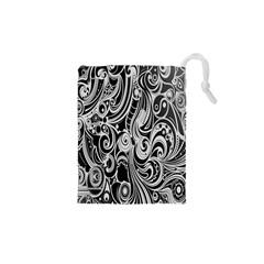 Black White Shape Drawstring Pouches (xs)  by Mariart