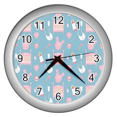 Baby Girl Accessories Pattern Pacifier Wall Clocks (silver)  by Mariart