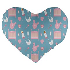 Baby Girl Accessories Pattern Pacifier Large 19  Premium Heart Shape Cushions by Mariart