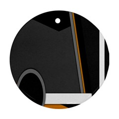 Flag Grey Orange Circle Polka Hole Space Round Ornament (two Sides) by Mariart