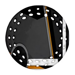 Flag Grey Orange Circle Polka Hole Space Round Filigree Ornament (two Sides) by Mariart