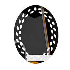 Flag Grey Orange Circle Polka Hole Space Oval Filigree Ornament (two Sides) by Mariart