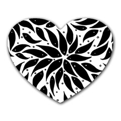 Flower Fish Black Swim Heart Mousepads by Mariart