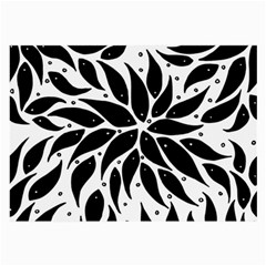 Flower Fish Black Swim Large Glasses Cloth (2 Side) by Mariart