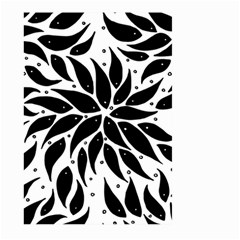 Flower Fish Black Swim Large Garden Flag (two Sides) by Mariart