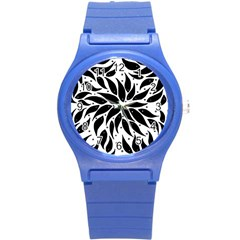 Flower Fish Black Swim Round Plastic Sport Watch (s) by Mariart
