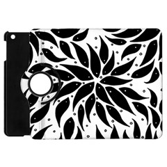 Flower Fish Black Swim Apple Ipad Mini Flip 360 Case by Mariart