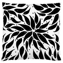 Flower Fish Black Swim Large Flano Cushion Case (one Side) by Mariart