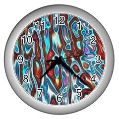 Dizzy Stone Wave Wall Clocks (silver)  by Mariart