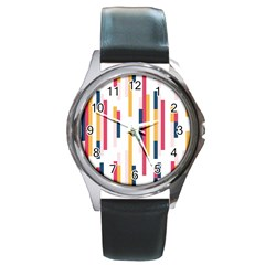 Geometric Line Vertical Rainbow Round Metal Watch by Mariart