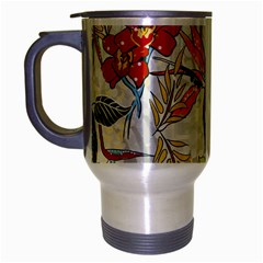 Flower Floral Red Green Tropical Travel Mug (silver Gray) by Mariart