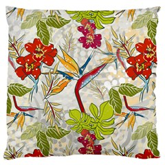 Flower Floral Red Green Tropical Large Cushion Case (two Sides) by Mariart