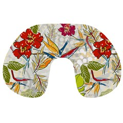 Flower Floral Red Green Tropical Travel Neck Pillows by Mariart