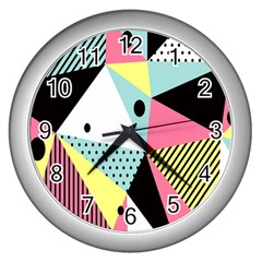 Geometric Polka Triangle Dots Line Wall Clocks (silver)  by Mariart