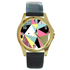 Geometric Polka Triangle Dots Line Round Gold Metal Watch by Mariart