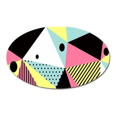 Geometric Polka Triangle Dots Line Oval Magnet by Mariart