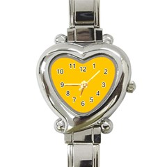 Amber Solid Color  Heart Italian Charm Watch by SimplyColor