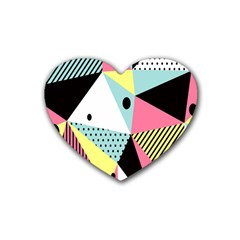 Geometric Polka Triangle Dots Line Rubber Coaster (heart)  by Mariart