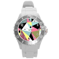 Geometric Polka Triangle Dots Line Round Plastic Sport Watch (l) by Mariart
