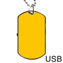 Amber Solid Color  Dog Tag Usb Flash (one Side) by SimplyColor