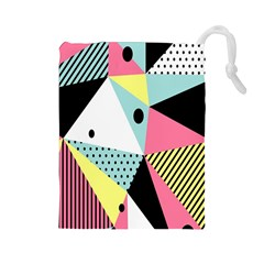 Geometric Polka Triangle Dots Line Drawstring Pouches (large)  by Mariart
