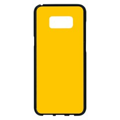 Amber Solid Color  Samsung Galaxy S8 Plus Black Seamless Case by SimplyColor