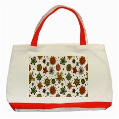 Flower Floral Sunflower Rose Pattern Base Classic Tote Bag (red) by Mariart
