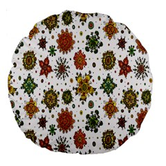 Flower Floral Sunflower Rose Pattern Base Large 18  Premium Round Cushions by Mariart