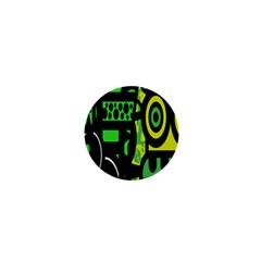 Half Grower Banner Polka Dots Circle Plaid Green Black Yellow 1  Mini Buttons by Mariart