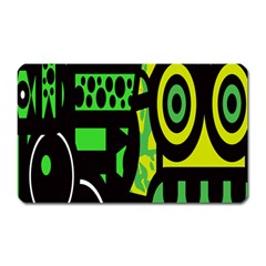Half Grower Banner Polka Dots Circle Plaid Green Black Yellow Magnet (rectangular) by Mariart