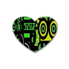 Half Grower Banner Polka Dots Circle Plaid Green Black Yellow Heart Coaster (4 Pack)  by Mariart