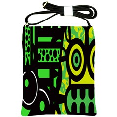 Half Grower Banner Polka Dots Circle Plaid Green Black Yellow Shoulder Sling Bags by Mariart