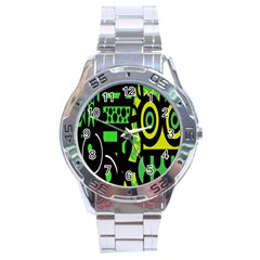 Half Grower Banner Polka Dots Circle Plaid Green Black Yellow Stainless Steel Analogue Watch by Mariart