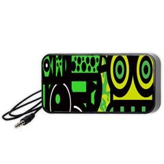 Half Grower Banner Polka Dots Circle Plaid Green Black Yellow Portable Speaker (black) by Mariart