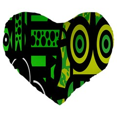 Half Grower Banner Polka Dots Circle Plaid Green Black Yellow Large 19  Premium Heart Shape Cushions by Mariart