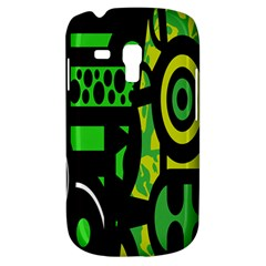 Half Grower Banner Polka Dots Circle Plaid Green Black Yellow Galaxy S3 Mini by Mariart