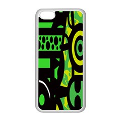Half Grower Banner Polka Dots Circle Plaid Green Black Yellow Apple Iphone 5c Seamless Case (white) by Mariart