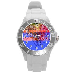 Glitchdrips Shadow Color Fire Round Plastic Sport Watch (l) by Mariart