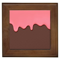 Ice Cream Pink Choholate Plaid Chevron Framed Tiles by Mariart