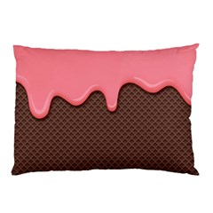 Ice Cream Pink Choholate Plaid Chevron Pillow Case by Mariart