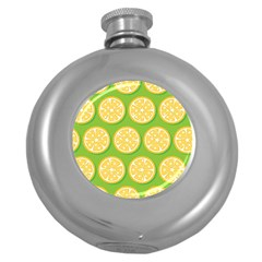 Lime Orange Yellow Green Fruit Round Hip Flask (5 Oz) by Mariart
