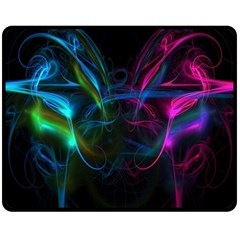 Light Waves Light Red Blue Double Sided Fleece Blanket (medium)  by Mariart