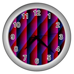 Photography Illustrations Line Wave Chevron Red Blue Vertical Light Wall Clocks (silver)  by Mariart