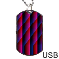 Photography Illustrations Line Wave Chevron Red Blue Vertical Light Dog Tag Usb Flash (two Sides) by Mariart