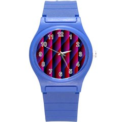 Photography Illustrations Line Wave Chevron Red Blue Vertical Light Round Plastic Sport Watch (s) by Mariart